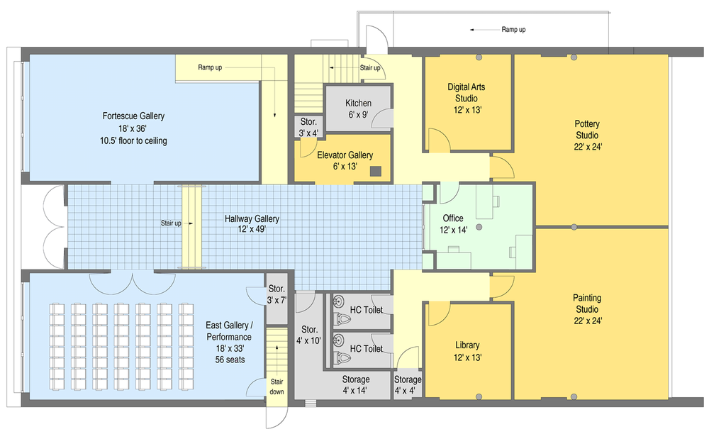 """Ground level floor plan (click to expand) Gallery height: 10'6"""" to ceiling ducts/lights"""