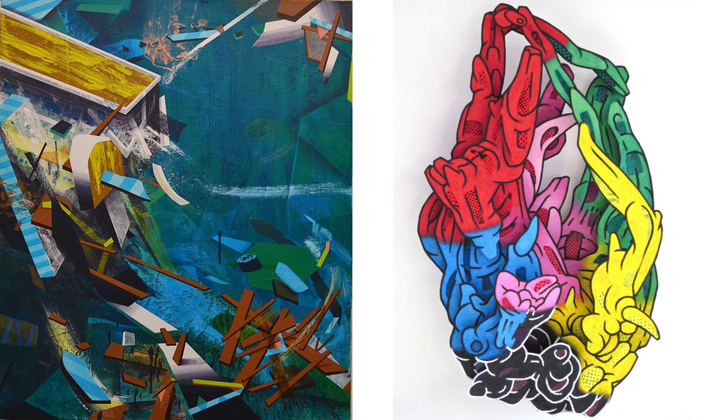 "(left) Daniel Angeli, ""Cracked Hull,"" 2013, acrylic on canvas. (right) Candy Spilner, ""Kubutamahan,"" 2012, oil, sand, photocopy on board construction."
