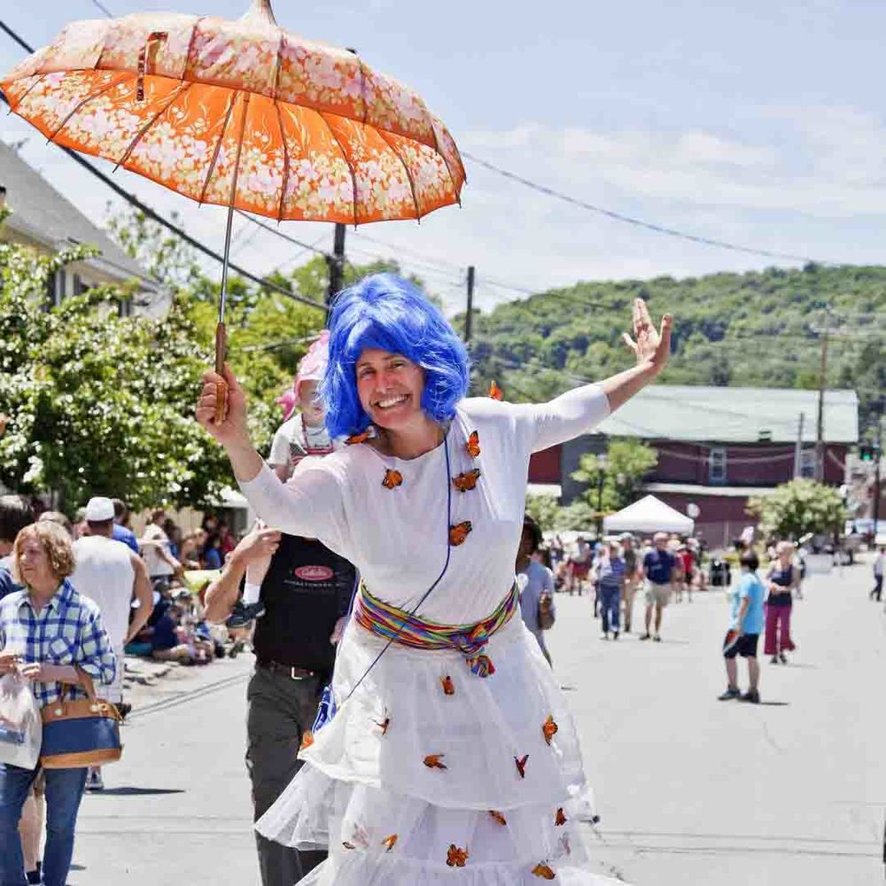 NACL Theatre's The Weather Project.   12th Annual Trout Parade, June 13, 2015.   Photo by Ted Pilonero.