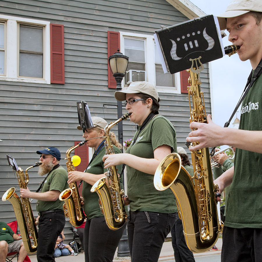 The MountainTones Community Band.   10th Annual Trout Parade, June 8, 2013.   Photo by Ted Pilonero.