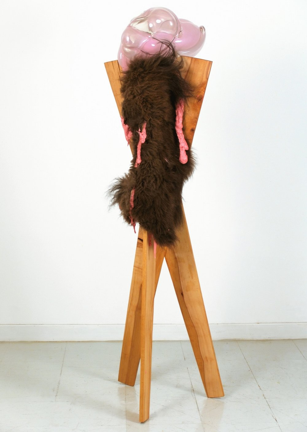 "She,   2007,67""x 18""x 20"",blown glass, wood, foam, bison fur, glue."
