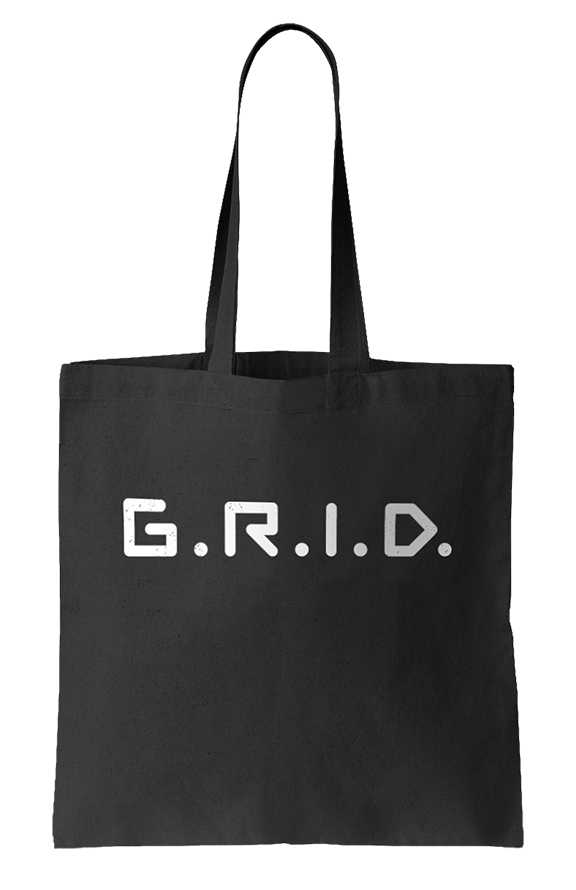 Hand screen printed G.R.I.D. canvas bag