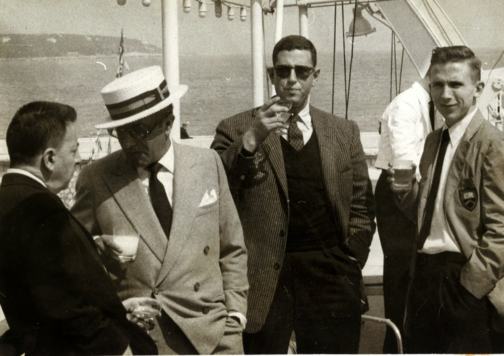 On Aristotle Onassis yacht at Prince Rainier wedding in Monaco