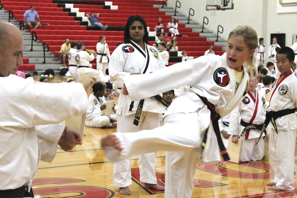 Taekwondo Karate Instructors and students at a martial arts Regional Belt Test.