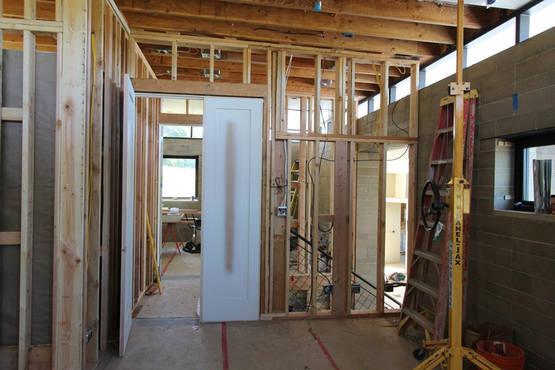 Framing the walls for the master bedroom