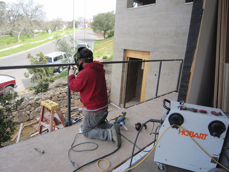 Justing welding the porch railing
