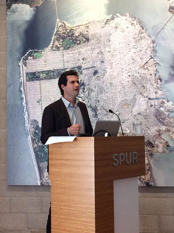 "Joe Dahmen of Watershed Materials presenting ""Redesigning the Humble Concrete Block"" at SPUR in San Francisco."