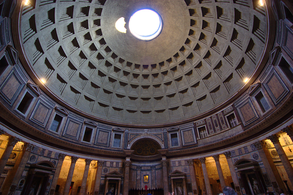 The ceiling of the Pantheon in Rome — the largest unreinforced concrete dome in the world — still standing 2,000 years later. Image ©Biker Jun used with permission of Creative Commons license.