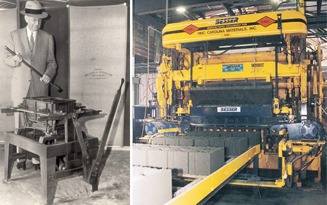 The evolution of how concrete block are made is striking when comparing Besser's first machine with its most modern. The fact that concrete blocks themselves haven't changed in all this time is equally striking. Giant machines churn them out much faster, but they still rely on cement and its high cost and high carbon footprint. Watershed Materials decided to go back to the beginning and invent a whole new way to make a whole new type of structural masonry.