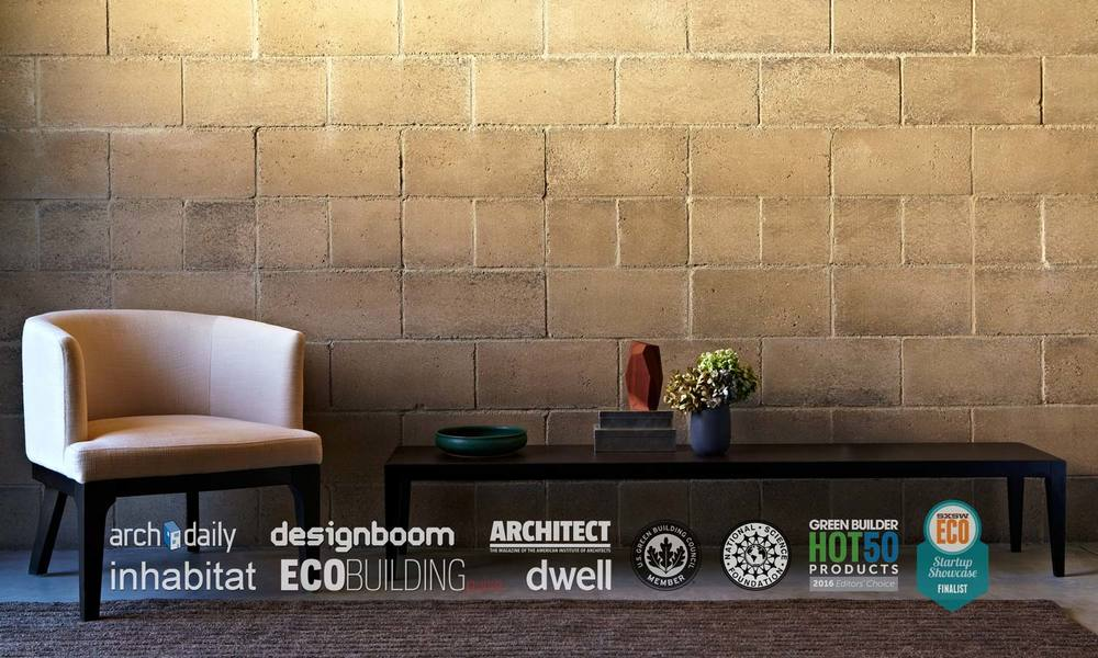 Interior wall made from low carbon alternative green building material Watershed Block