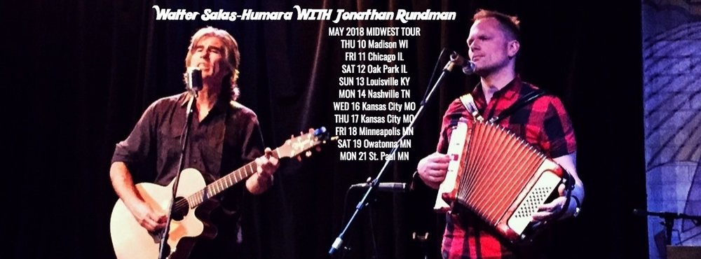 I'm excited to hit the road with  WALTER SALAS-HUMARA  on a Midwest Tour this month! Details at my  DATES  page....