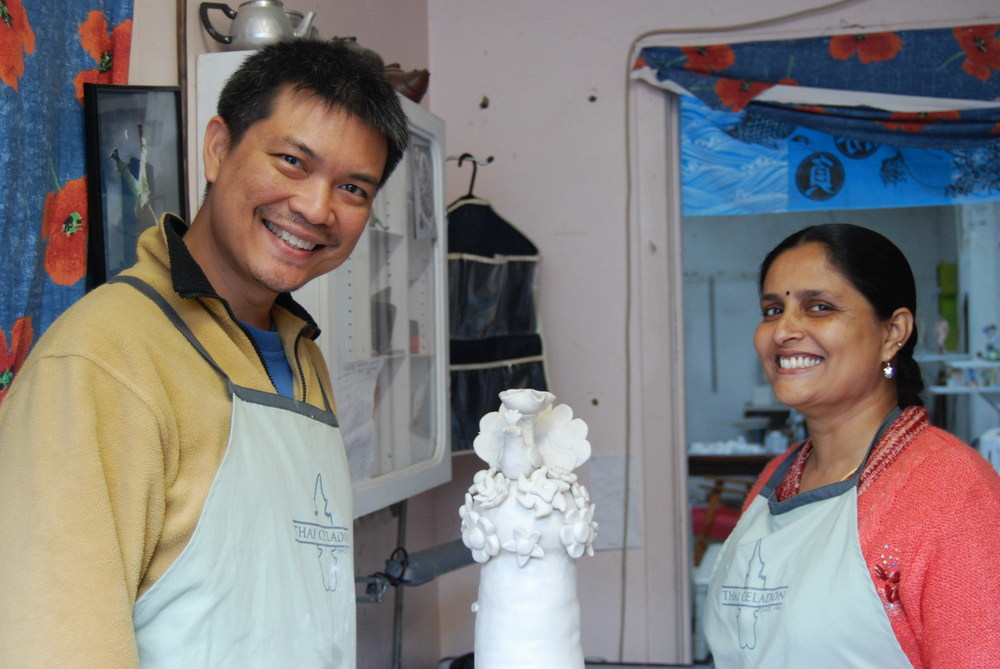 Vipoo Srivilasa and Pushpa Kumari in Vipoo's workshop