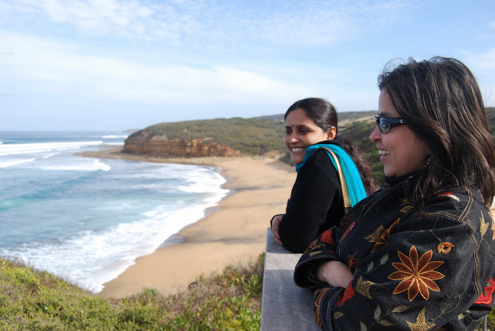 Pushpa Kumari and Minhazz Majumdar sight seeing on the Great Ocean Road.