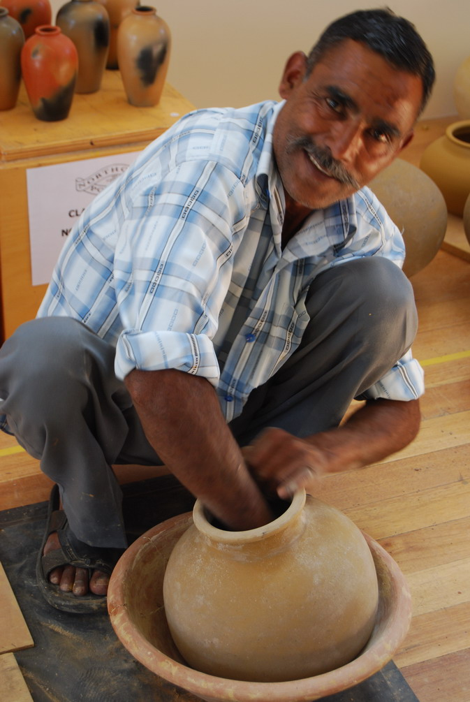 Manori Lal making a waterpot