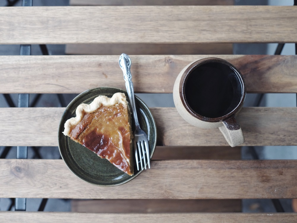 Pumpkin Pie & Single Origin Brazilian Pour over // Ceramics plate by Stephanie French, Ceramic mug by Bethany Scott