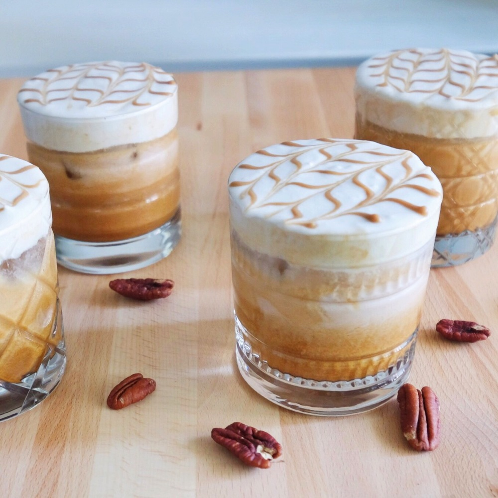 Iced Pecan Milk Latte with Coconut Whipped Cream & Caramel
