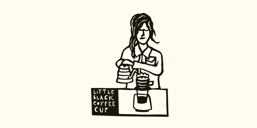 Custom Little Black Coffee Cup papercut by Anna Brones