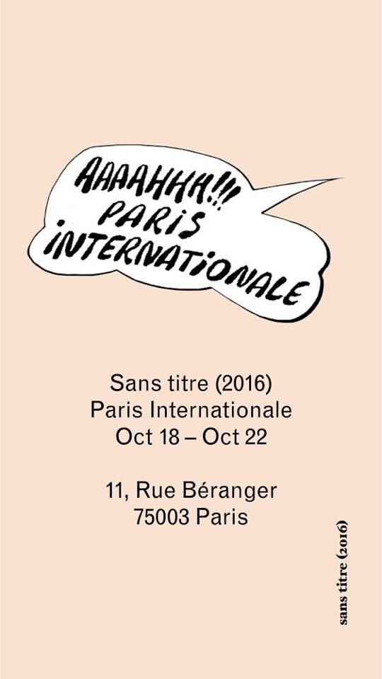 Sans titre (2016) is at Paris Internationale till Sunday! Showing works by Real Madrid Collective, Hamish Pearch, Agata Ingarden, Indigo Lewin, Romain Sarrot, Robert Brambora & Tanja Ritterbex.