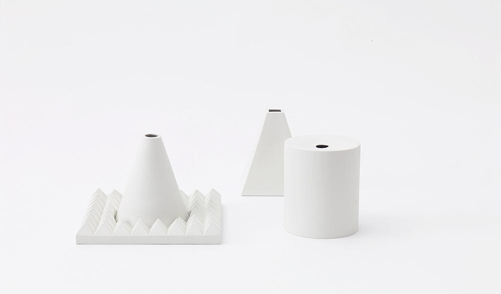 Cone + Pyramid + Cylinder + Platter   unglazed