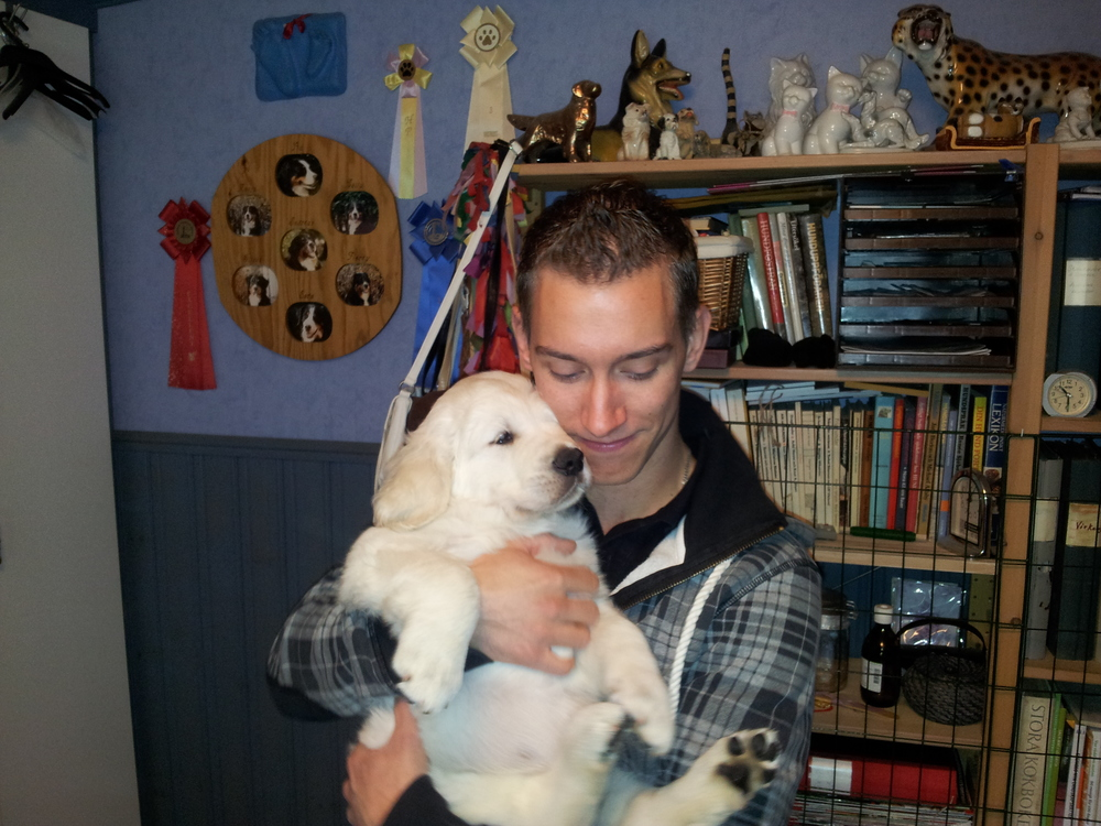 My brother Niklas and the puppy Chaplin, which will soon be his. Such a cute dog!