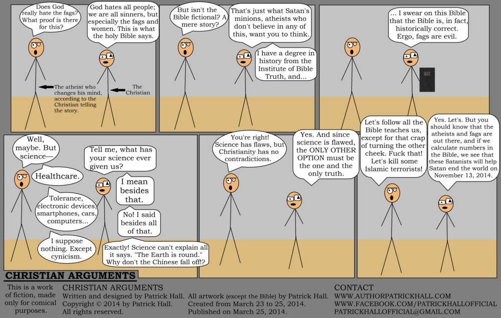 CHRISTIAN ARGUMENTS : This is a short comic strip. It was written and designed by Patrick Hall from March 23 to 25, 2014. Copyright © 2014 by Patrick Hall. All rights reserved. Feel free to download it and spread it around, as long as you credit the source and don't charge people for it.