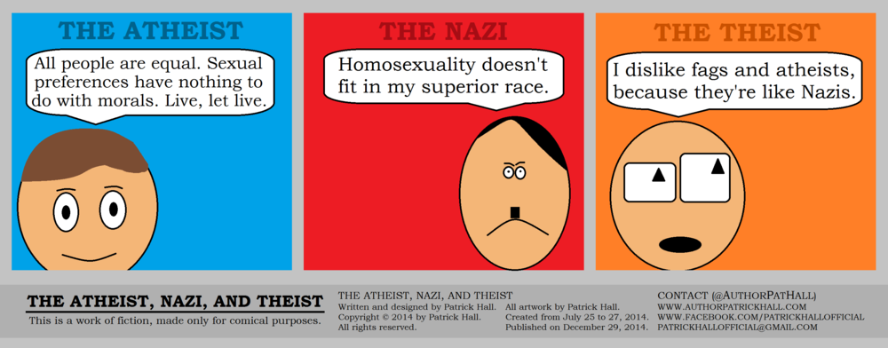 THE ATHEIST, NAZI, AND THEIST: This is a short comic strip. It was written and designed by Patrick Hall from July 25 to 27, 2014. Copyright © 2014 by Patrick Hall. All rights reserved. Feel free to download it and spread it around, as long as you credit the source and don't charge people for it.