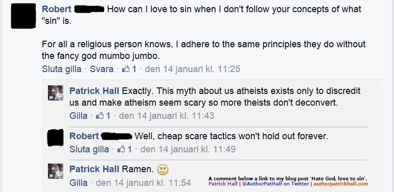 MAKE ATHEISM SEEM SCARY: This is a meme of a brief Facebook conversation that took place on January 14, 2015, below a link to this blog post.