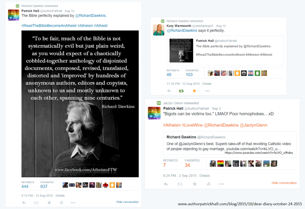 The retweets by Richard Dawkins and Jaclyn Gleen.