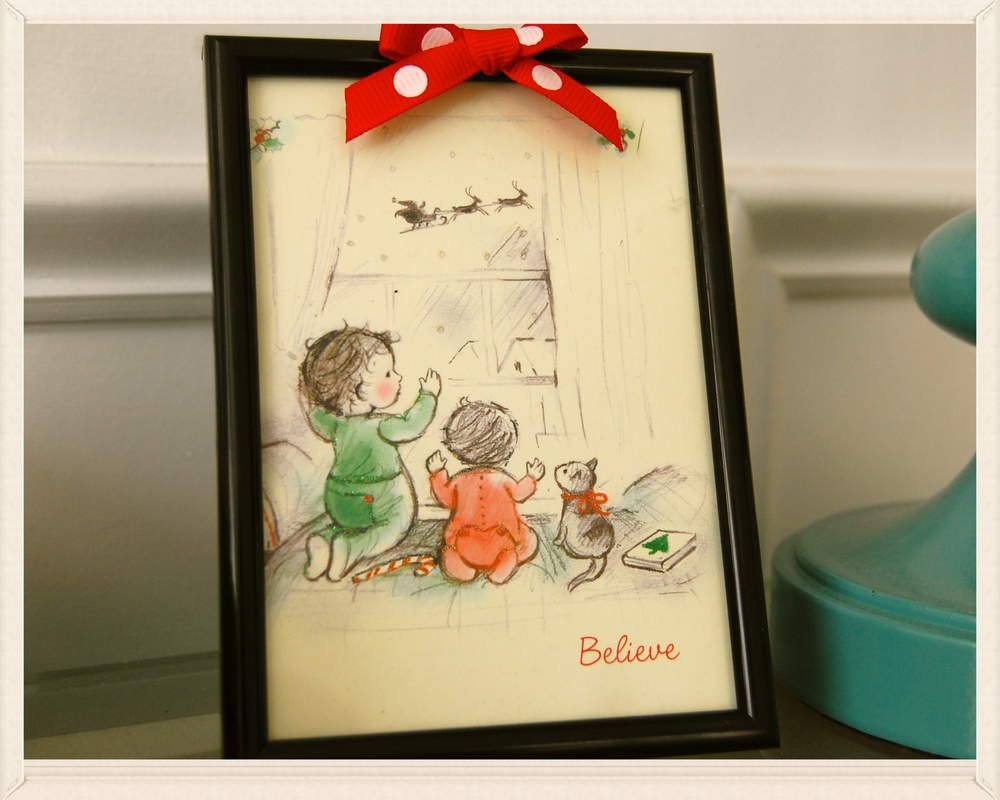 framed Christmas card cute Christmas card ♥  . 4x6 frame . dotted grosgrain ribbon