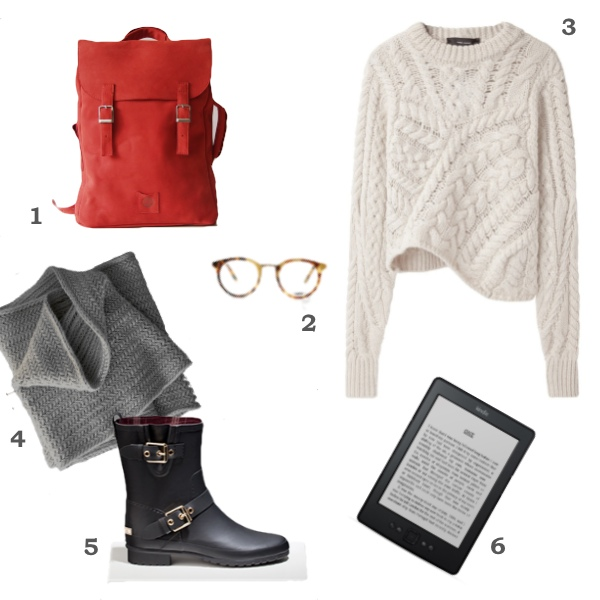 1) Bakpoki frá kokosina 2) Emerson gleraugu frá Oliver People   3) Cable Knit Sweater / Isabel Marant by roslyn 4) Big Herringbone cowl frá The Purl Bee 5) Buckled ankle wellington boot frá Massimo  6) Amazon Kindle