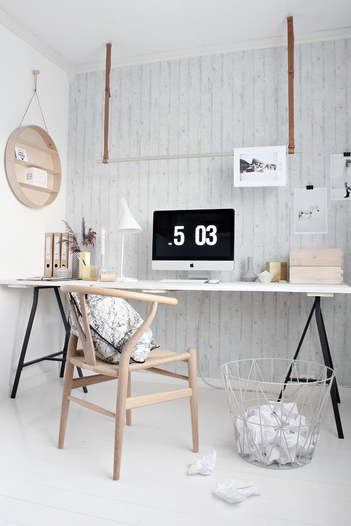 This office space has been styled by Nina Hoist of Norwegian interior blog Stylizimo in collaboration with Danish brand Ferm Living.