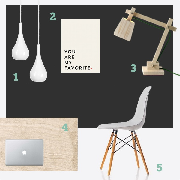 1) Dropalaga ljós 2) You are my favorite poster frá Society6  3) Wood Lamp frá Muuto 4) Birki bekkplata 5) Eames DSW stóll