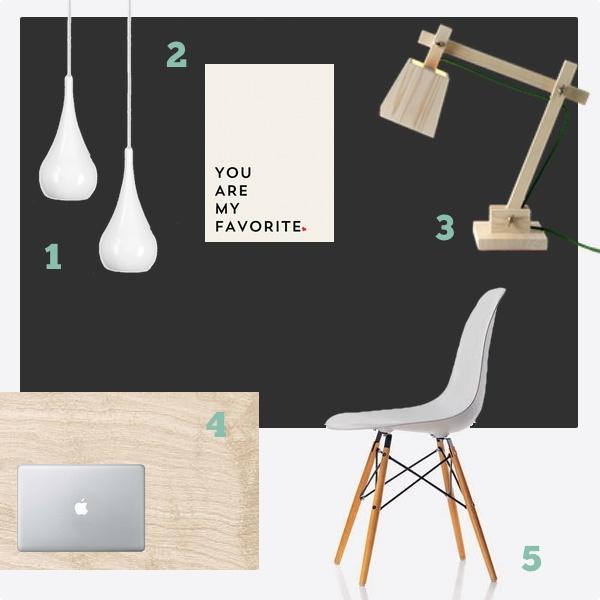 1) Dropalaga ljós  2)  You are my favorite poster frá Society6   3)  Wood Lamp frá Muuto   4) Birki bekkplata  5)  Eames DSW stóll