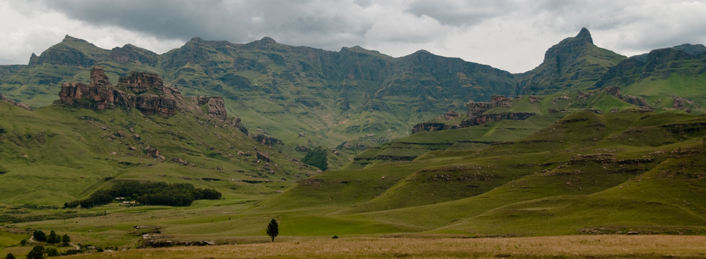 and the panoramic view of the Lower Drakensberg