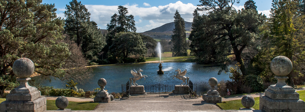 Powerscourt lower lake panorama