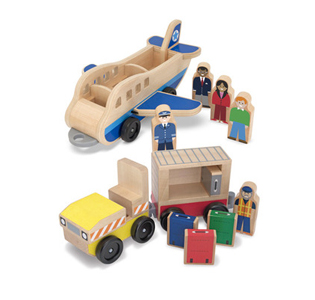 Melissa & Doug Whittle World Wooden Plane & Luggage Carrier Set - 12 Pieces