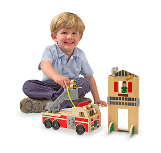 Melissa & Doug Whittle World Wooden Fire Rescue Set