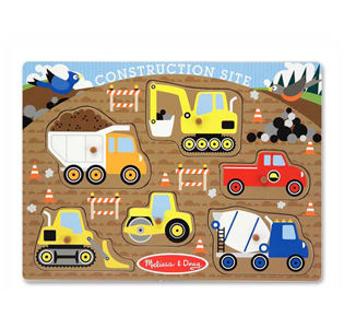Melissa & Doug Construction Site Peg Puzzle - 6 Pieces