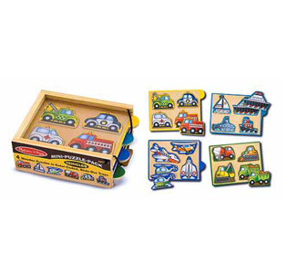 Melissa & Doug Vehicles Mini-Puzzle-Pack