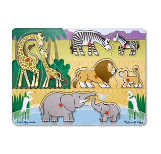 Melissa & Doug Safari Peg Puzzle - 8 Pieces