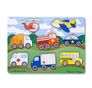 Melissa & Doug Vehicles Peg Puzzle - 8 Pieces