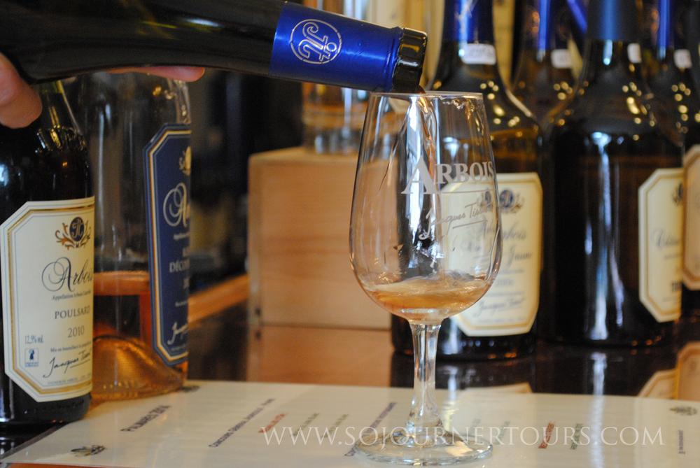 Wine tasting in Arbois.