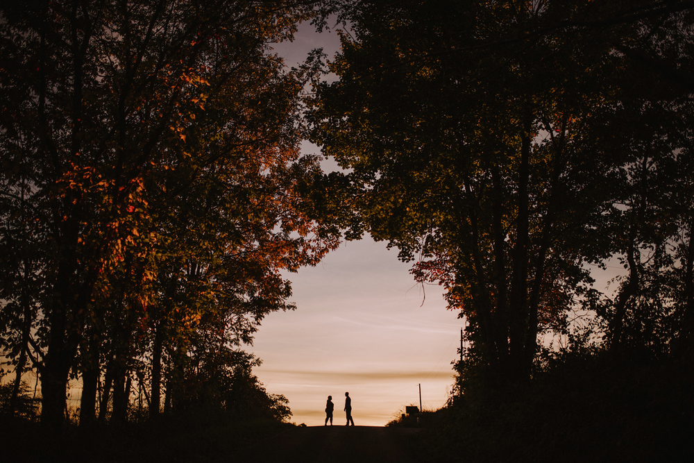 Autumn Sunset Hocking Hills Engagement Photography