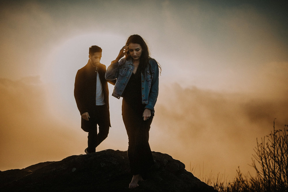 Sunrise Engagement Adventure Hiking Session in the Blue Ridge Smoky Mountains