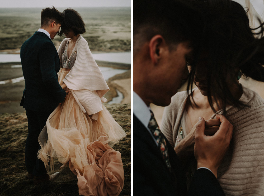 Iceland Elopement / Sumarokova Atelier Wedding Dress / Fjaðrárgljúfur Canyon