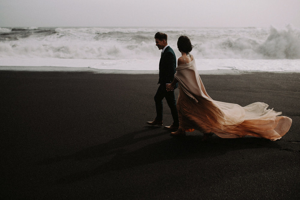 Iceland Elopement / Sumarokova Atelier Wedding Dress / Reynisfjara Black Sand Beach