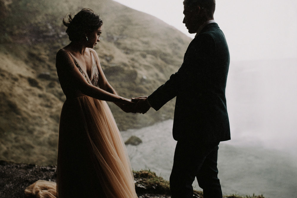 Iceland Elopement / Sumarokova Atelier Wedding Dress / Seljalandsfoss Waterfall