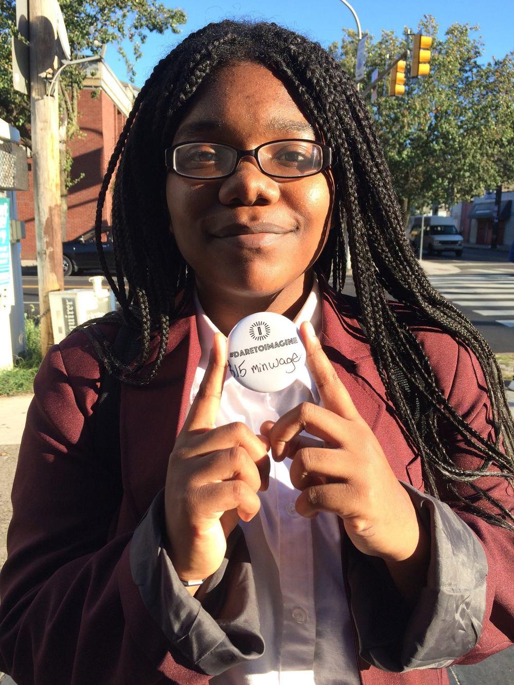 DareToImagine button maker at Germantown Imagination Station at Greene Street and Chelten Avenue. (Photo by Yolanda Wisher, October 2016)
