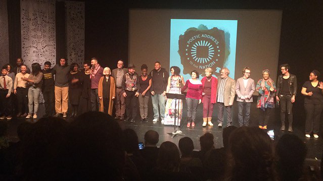 Poetic Address to the Nation cast taking a bow after the performance.
