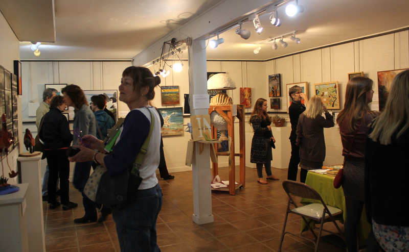 The exhibit opening reception for Heating Up: Artists Respond to Climate Change.
